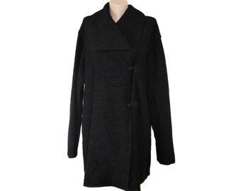 Vintage black 100% wool sweater vest waistcoat floral