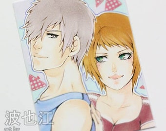 Unique Original ATC OOAK Lovely Manga Couple Boy and Girl Pairing ACEO Sweet Anime Artwork