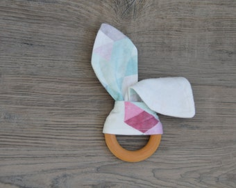 Watercolour Wooden Teething Ring - Bunny Ears Teether Toy