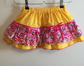 SALE!!!  Ready to ship Yellow floral Skirt size 2T-3T