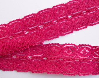 2 yards, 34mm vintage dark pink lace, sewing supplies, elastic lace, crafting, haberdashery, costume, embellishment, sewing accessories (L3)