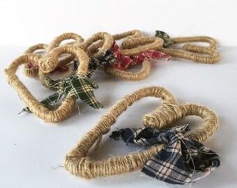 Ribbon & Twine Primitive Heart Set (3)