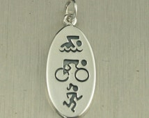 Sterling Silver Triathlon Oval Charm--Swim Bike Run Pendant--Triathlon Athlete--Athletic Pendant--Triathlon Symbols Charm--Distance Athlete