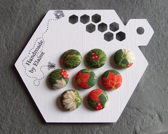 Fabric Covered Buttons - 8 x 15mm Buttons, Handmade Button, Poinsettia Buttons, Holly Buttons, Christmas Buttons, Xmas Buttons, 2197