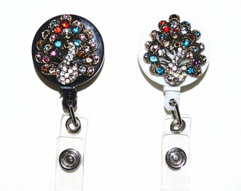 Rhinestone Crystal Retractable ID Badge Reel with belt Clip