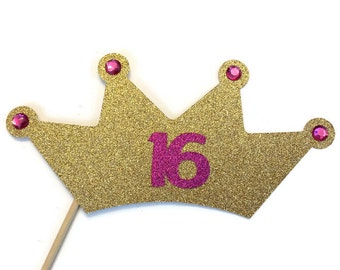 Photo Booth Props- Crown with Glitter- Sweet 16- Birthday Crown-Birthday Crown