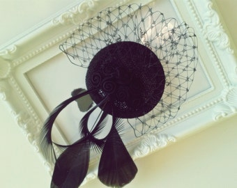 """Elvira"" Fascinator headpiece"