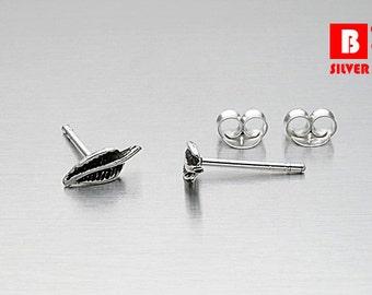 925 Sterling Silver Oxidized Earrings, Leaf Earrings, Stud Earrings (Code : EG39)