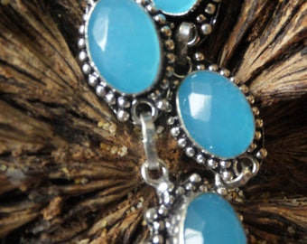 Faceted Blue Chalecdony and Sterling Silver Necklace