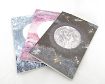 Set of 3 Moon Notebooks - Gift Set - Recycled Paper A6 Blank Notebooks - ONLY SQUARED left - recycled paper - A6 Notebook Graph paper