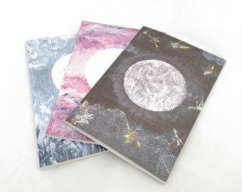 Set of 3 Moon Notebooks, Recycled Paper Blank A6 Notebooks, Blank Notebook, Recycled Paper Notebook, Moon Journal, Moon Art, Moon Gift