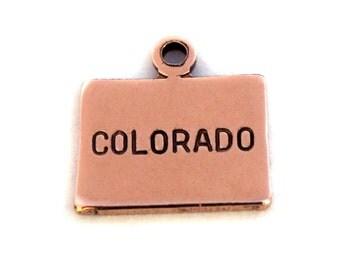 2x Rose Gold Plated Engraved Colorado State Charms - M131-CO