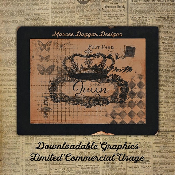 Queen French Crown | Butterfly | Script | Typographic | Overlay | Downloadable Word Art | WA_006