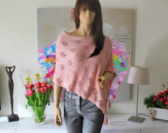 PONCHO Spring/Summer Lace Cotton pink
