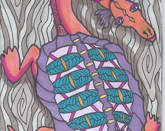 Jurassic Tree Turtle Fantasy ACEO