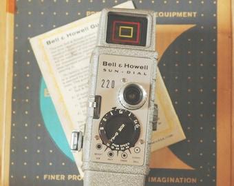 Vintage Bell & Howell 220 Sun Dial 8mm Movie Camera in Original Box
