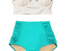 White Midkini Mid Top and Mint Green Ruched Rouched High waisted waist Shorts Bottom Bikini Swimsuit Swimwear Bathing suit suits S M L XL
