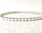 White Bracelet; Stacking Bracelet; Rhinestone Jewelry; Gift for Her; Wedding Jewelry, Bridesmaid Gift; Thin Bracelet; Birthday Gift