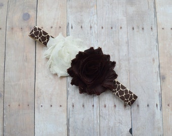 Animal print baby headband, giraffe headband, brown and cream newborn headband