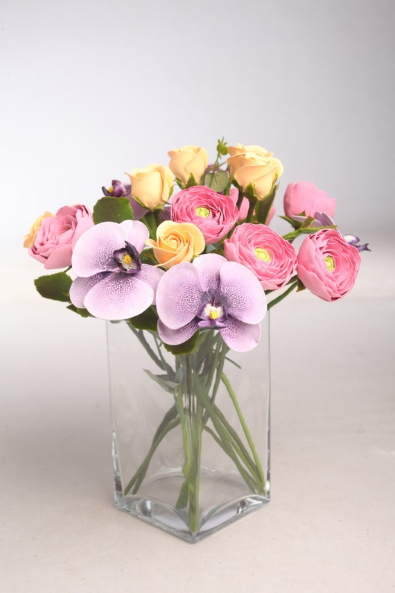 Flowers made of air light clay, Orchids, roses and ranunculus, Home decor, Floral arrangement
