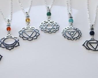 Chakra Necklace Set, Chakra Symbols Set of 7, Seven Chakras, Chakra Meditation, Yoga Jewelry, Reiki Jewelry, Mandala, Silver Chakra Jewelry