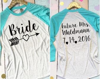 Bride Baseball Shirt. Custom Bride Shirt. Arrow Bride Shirt. Bachelorette Party Shirt. Bridal Shower Gift For Bride. Plus Sizes Available.