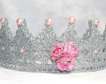 Silver Lace crown /Silver & Pink Lace Crown /  Lace Crown Newborn / Photo Prop / Cake topper / Photography Prop / MADE IN USA.