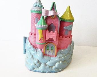 Polly Pocket 1994 Trendmasters Pink Glitter cloud Castle Polly Pocket With Original Butterfly Baby Figure.   / MEMsArtShop.