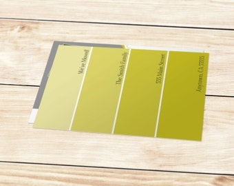 Printable Paint Swatch Moving Announcement - USPS Postcard Size (5.47x4.21)