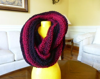 Red and Black Ribbed Infinity Scarf