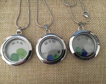 MOM sea glass locket