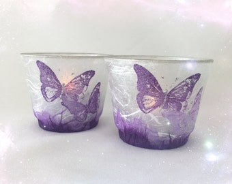 Delicate Strawsilk Glass Butterfly Candle Holder.