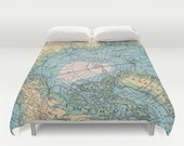Arctic Map Duvet Cover or comforter - bed - teal, aqua, bedroom, travel decor, cozy soft, pastel, winter, warm, North Pole, Greenland
