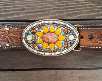 Mosaic Belt Buckle Floral