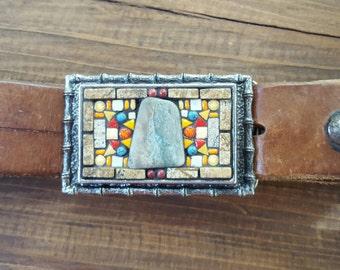 Mosaic Belt Buckle  Rectangle