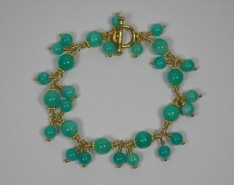 Turquoise-Blue Jade Chained Bracelet with Dangles