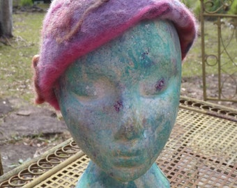 Funky Needle Felted beret