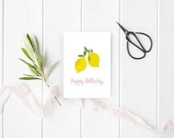 Lemons birthday card to be downloaded - Birthday card - Stationery - Illustrated  Birthday Cards - Lemons - Lemonade - Instant download