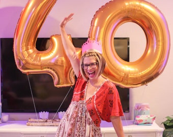 Number Balloons   Giant 40 Inch Matte Gold