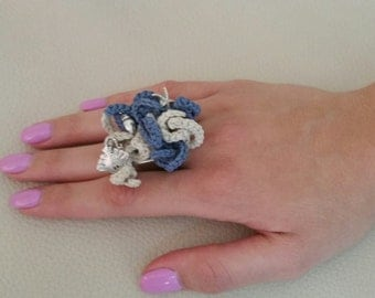 Coral ring, knitted Ring, Unique Statement Ring, Art Jewelry,Huge Ring, Nautical Jewel,Ocean World,Shell Ring,starfish, Knitted jewelry
