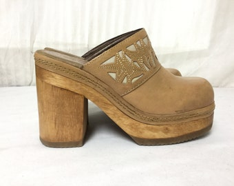 Free Ship Candies Clogs 7.5 Wood and Leather Platform Shoes