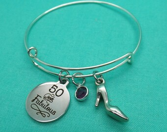 50 and Fabulous Adjustable Bangle Bracelet, 50th Birthday Gift, Fifty Gift, Over the Hill Gift, fifty Birthday Gift, 50th birthday