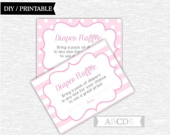 Instant Download Pink Grey Polka Dots Stripes Girl Baby Shower Party Diaper Raffle Cards Baby shower DIY Printable (PDEE001)