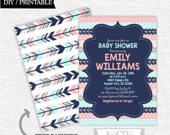 Coral, Pale Turquoise, Grey, Navy Baby Shower invitation Chevron DIY Printable (PATT001)