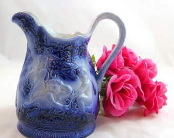 UPSALA EKEBY GEFLE Flow Blue Mullbar Pitcher by Upsala Ekeby Gefle Sweden Flow Blue Mullbar Pitcher Upsala Ekeby Gefle Blue Mullbar Pitcher