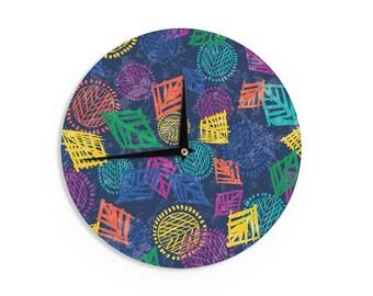 "Emine Ortega ""African Beat Blue"" EO1003A Blue Orange Purple Yellow Wall Clock"