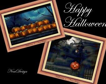 Happy Halloween - 2 cross stitch pattern - PDF pattern - instant download!
