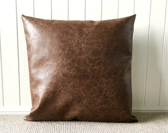 """Industrial / Vintage Distressed Brown Bark Faux Leather 45cm - 18"""" Square/ Cushion / Pillow Cover"""