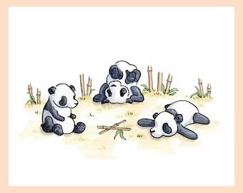 "Playful Pandas. Whimsical illustration, nursery art 8""X10"" mounted print"
