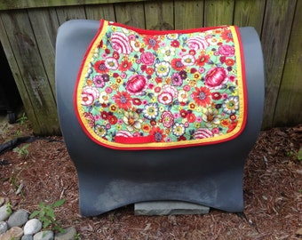 Custom English Saddle Pad Floral Print with Reds and Yellows